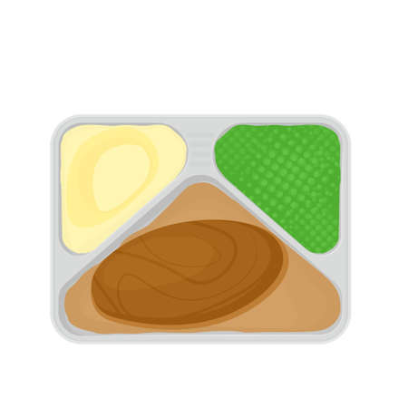 tv dinner with food. Vector illustration isolated on white background