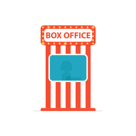 Ticket box office. Vector illustration isolated on white background Vettoriali