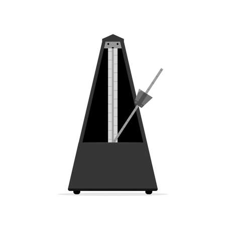 old wooden black metronome. Vector illustration isolated on white background