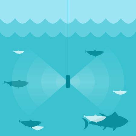fish finder sonar. Vector illustration Çizim