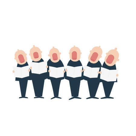 Male chorus in action. Vector illustration isolated on white background Vettoriali