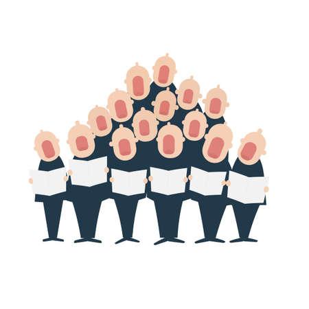 Mannelijk koor in actie. Vector illustratie geïsoleerd op een witte achtergrond