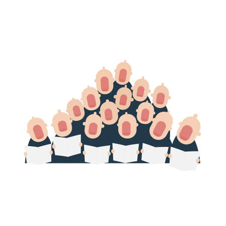 male chorus in action. Vector illustration isolated on white background
