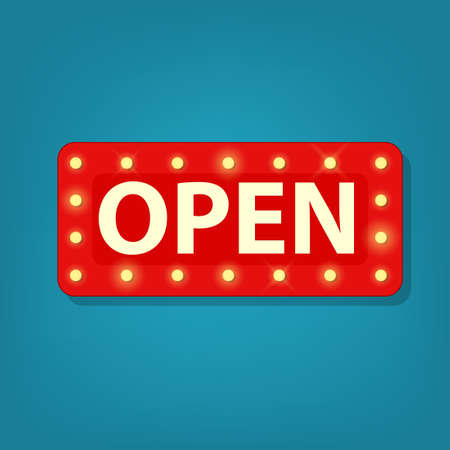 marquee open sign. Vector illustration