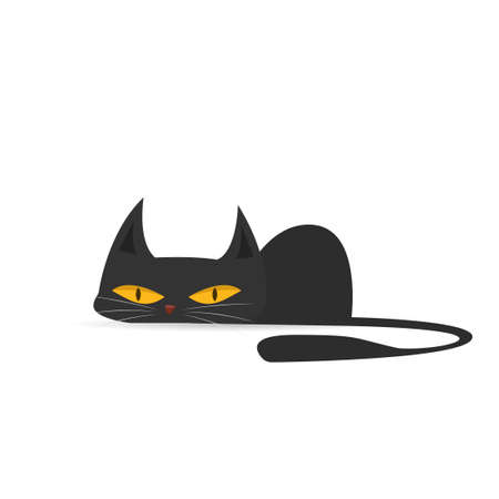 Cartoon black cat. Vector illustration isolated on white background