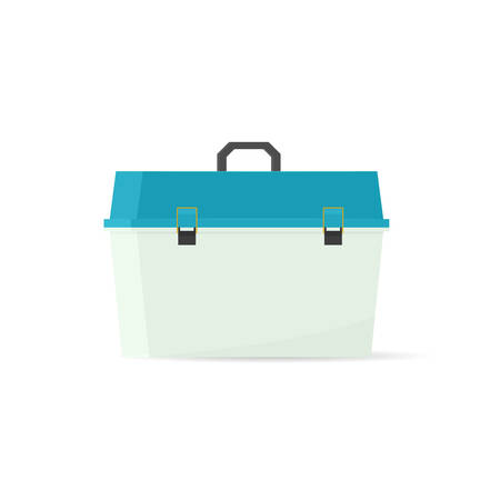 lay: Vector tackle box. Vector illustration isolated on white background Illustration