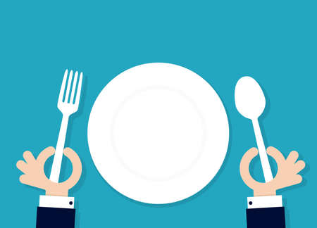 cartoon hahds holding fork and spoon with empty plate. Vector illustration Ilustração