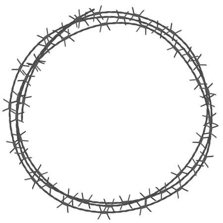Obramowanie koła z drutu kolczastego. Ilustracja wektora samodzielnie na białym tle Ilustracje wektorowe