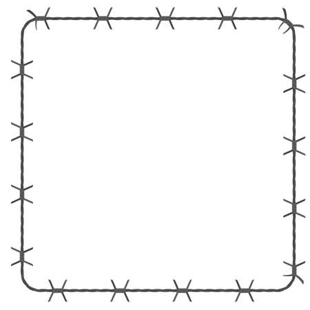 Barbed wire square border. Vector illustration isolated on white background