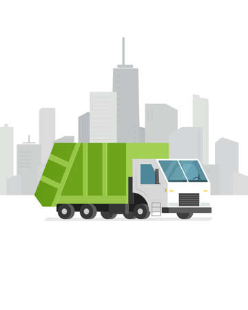 low tire: green refuse truck on city background. Vector illustration.