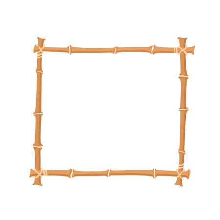 japanese garden: brown bamboo border. square bamboo frame. Vector illustration isolated on white background