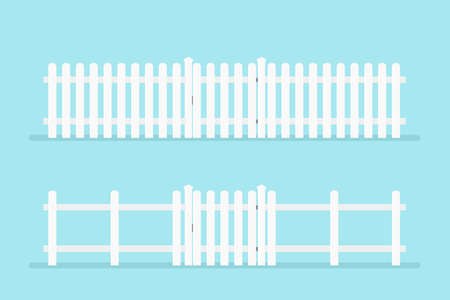 white picket fence with gate. Vector illustration isolated on background