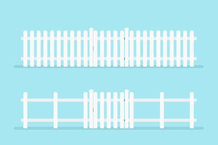 witte blokhut met poort. Vector illustratie geïsoleerd op de achtergrond Stock Illustratie