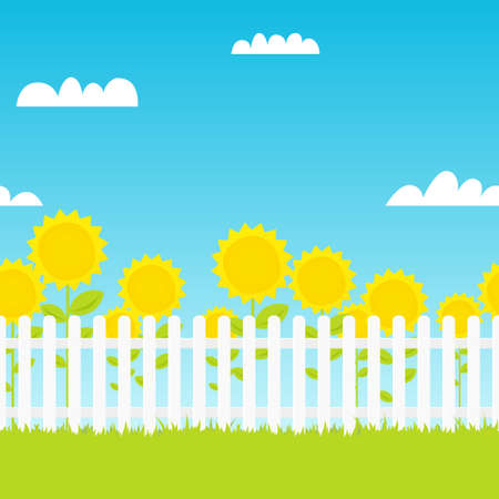 white picket fence with sunflowers on background blue sky. seamless vector illustration Illustration
