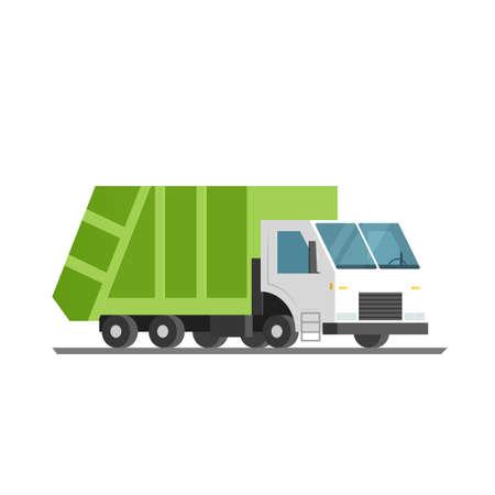 refuse: green refuse truck. Vector illustration isolated on white background Illustration