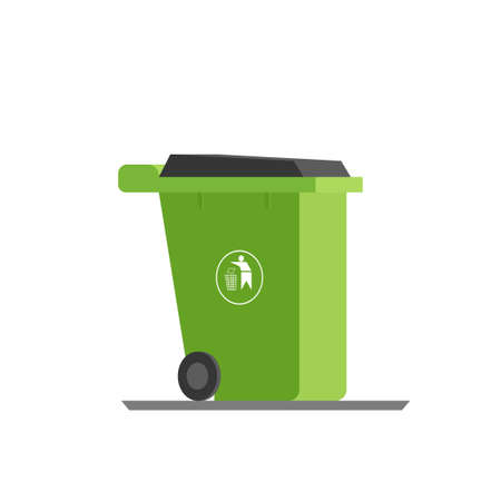 refuse: Green refuse bin. Vector illustration isolated on white background