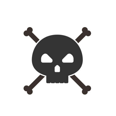 Skull and crossbones icon on white background. Vector illustration.