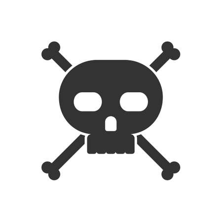 privateer: Skull and crossbones icon on white background. Vector illustration.