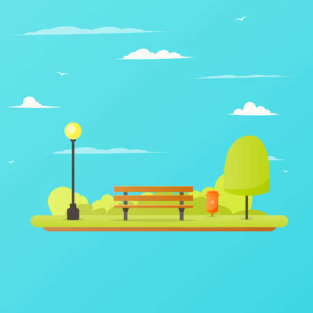 Park bench landscape Illustration