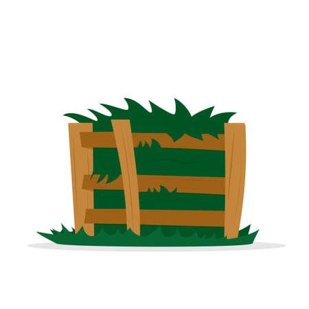 compost stapel in houten kist