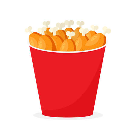 Fried chicken in red bucket 向量圖像
