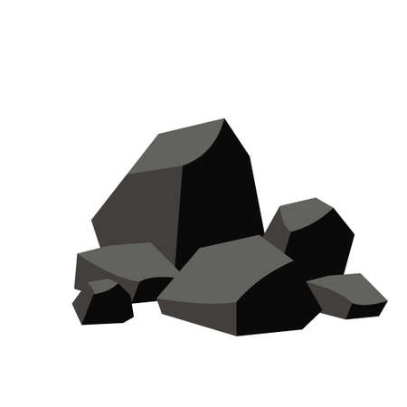Pile of coal isolated on white background