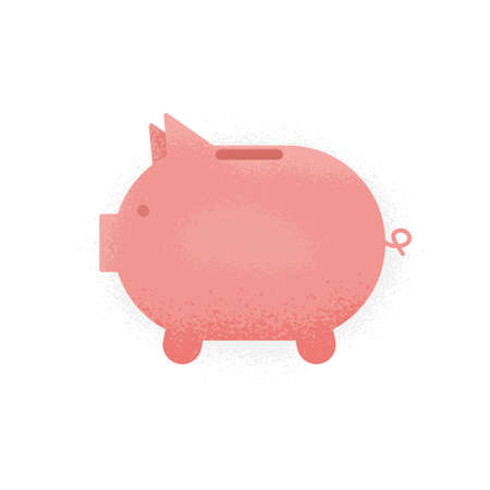Piggy bank icon with noise texture design illustration.