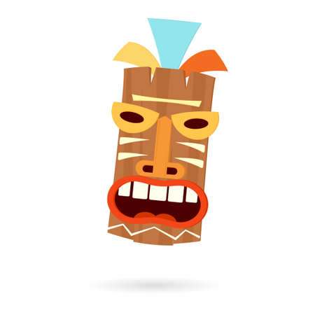 Tiki mask head clip-art design illustration. Stock Illustratie
