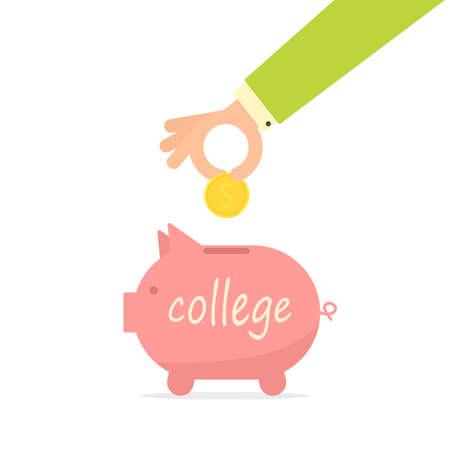 Pink piggy bank with a hand holding a coin clip-art design.