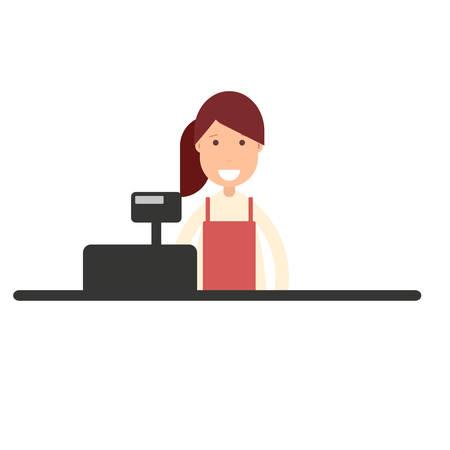 Cashier girl in supermarket in cartoon illustration.