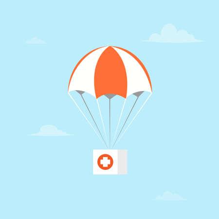 Fliegender Fallschirm mit erster Hilfe.