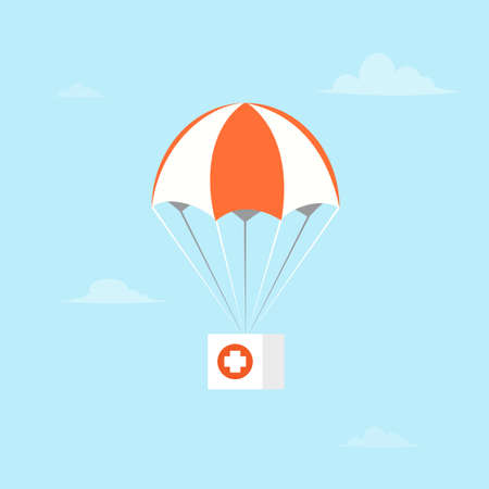 Parachute with first aid in cartoon illustration.