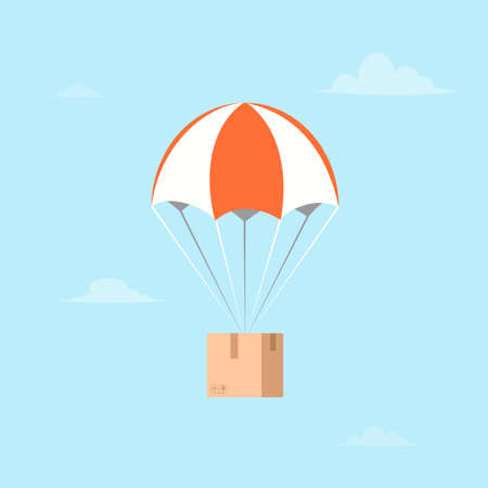 Package flying on parachute.