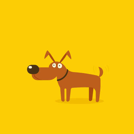 Happy cartoon dog in flat style cartoon illustration.