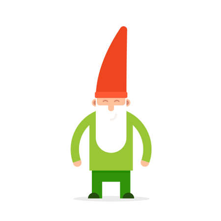 Green small garden gnome.