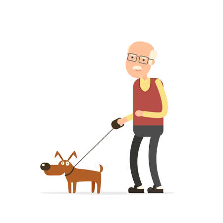 companionship: Old man walking with dog