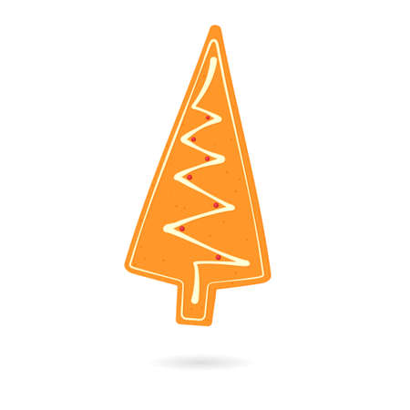 Gingerbread Christmas tree cookie. Vector illustration isolated on white background.