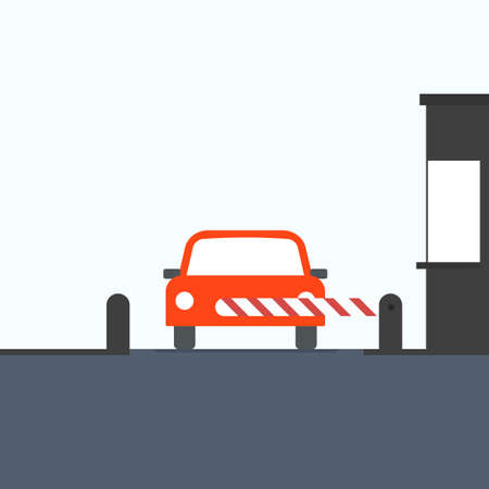 Toll booth with car Vector illustration isolated Illusztráció