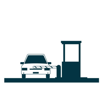 Toll booth icon with car isolated on white