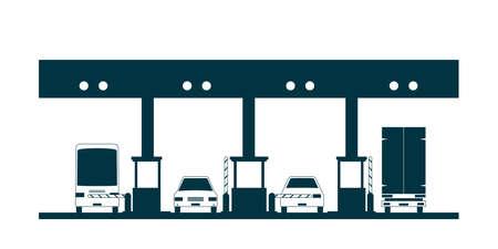 Ícone de praça de pedágio. Ilustração vetorial, isolada no fundo branco Ilustración de vector