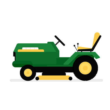 Lawn mower riding icon. Illustration