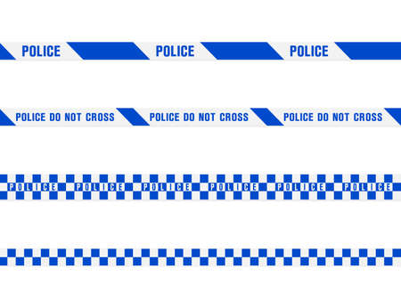 Police warning blue tape set. Vector seamless pattern isolated on white background Illustration