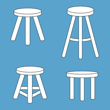 세 다리가있는 의자를 설정합니다. 벡터 일러스트 레이 션 일러스트