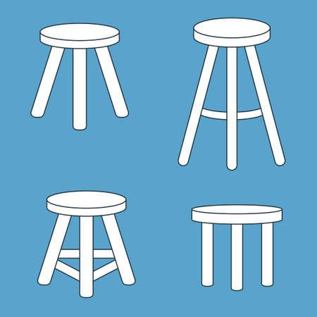 Three legged stool set. Vector illustration