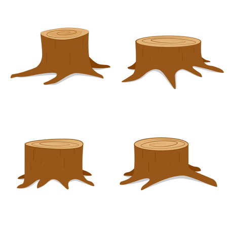 Tree stump set. Vector illustration isolated on white background  イラスト・ベクター素材