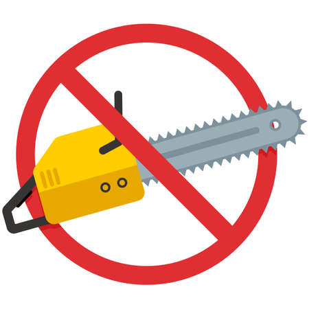 Stop saw icon. Vector illustration isolated on white background.