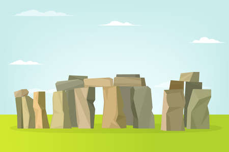 Stonehenge vector landscape. Vector illustration.