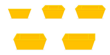 Yellow waste skip bin. Icon set. Vector illustration isolated on white background. Vettoriali