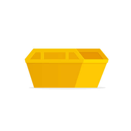 Yellow waste skip bin illustration on white background. Vettoriali