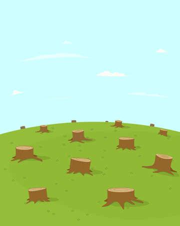 Deforestation vector illustration